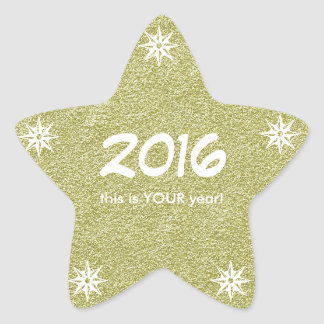 2016 this is YOUR year Happy New Year Gold Glitter Star Sticker