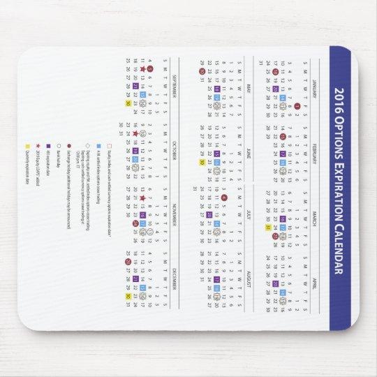 2016 US Equity Option Expiration Calendar Mouse Mat