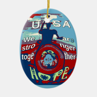 2016 USA Have a Nice Day Hillary Stronger Together Ceramic Oval Decoration