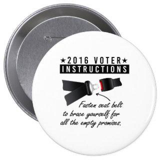 2016 VOTER INSTRUCTIONS - Fasten seat belt for emp 10 Cm Round Badge