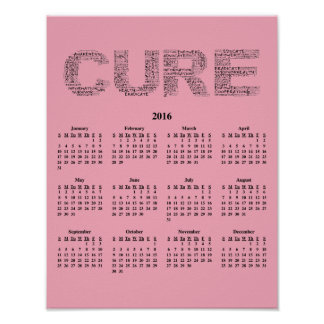 2016 Wall Calendar Breast Cancer Awareness Poster