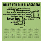 2016 Wall Calendar Rules for Our Classroom Poster