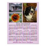 2016 Year Monthly Calendar Colourful Custom 3 Poster