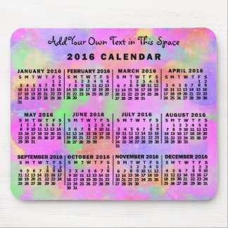 2016 Year Monthly Calendar Rainbow of Paint Custom Mouse Pad