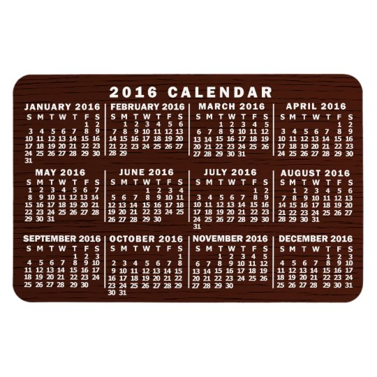 2016 Year Monthly Calendar with Brown Wood Grain Rectangular Photo Magnet