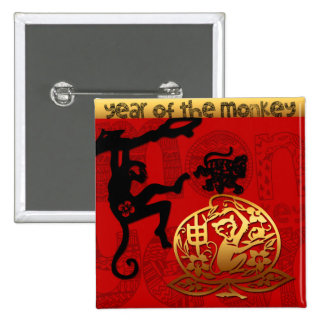 2016 Year of The Monkey Chinese New Year 15 Cm Square Badge