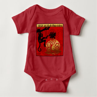 2016 Year of The Monkey Chinese New Year Red Baby Tees