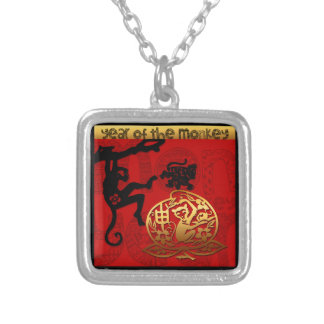 2016 Year of The Monkey Chinese New Year Square Pendant Necklace