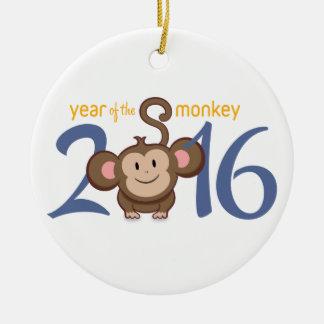 2016 Year of the Monkey Round Ceramic Decoration