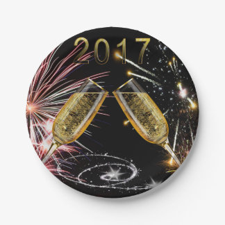 2017 Champagne Glasses and Fireworks Paper Plate