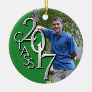 2017 Grad Photo Green and Silver Round Ceramic Decoration
