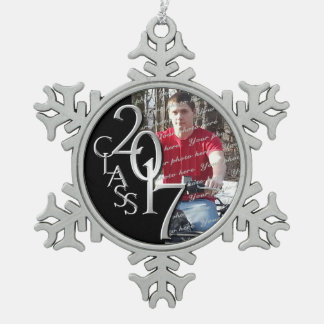 2017 Graduate Photo Pewter Snowflake Decoration