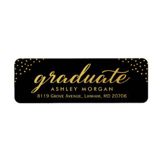 2017 Graduate Script Gold Dots Graduation Return Address Label