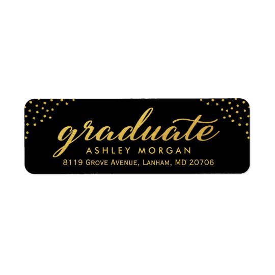2017 Graduate Script Gold Dots Graduation Return Address