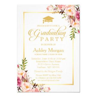 2017 Graduation Party Chic Floral Golden Frame 13 Cm X 18 Cm Invitation Card