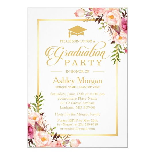 2017 Graduation Party Chic Floral Golden Frame Card