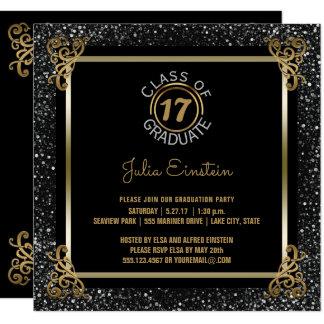 2017 Graduation Party   Elegant Glam Gold Silver Card