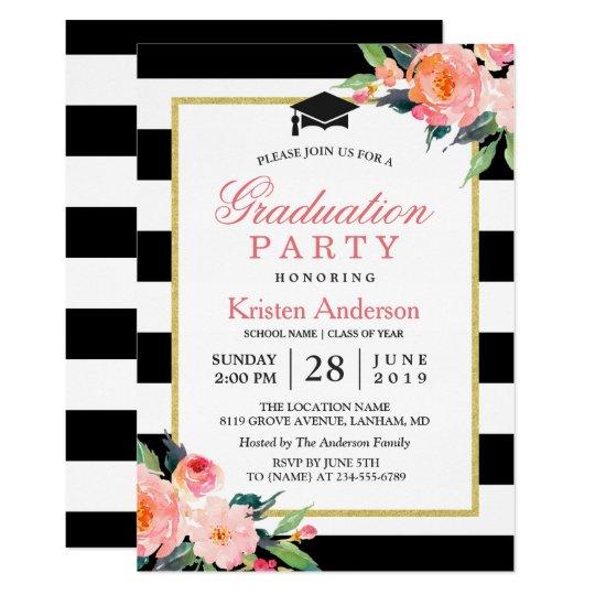 2017 Graduation Party Modern Floral Black Stripes Card