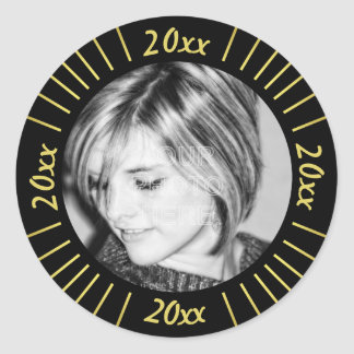 2017 Graduation Party Photo Black Gold Mod Stripes Round Sticker