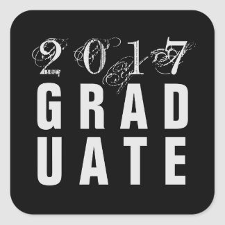 2017 Graduation Party Stickers - Black & Silver