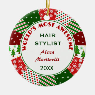 2017 Most Awesome Hair Stylist Christmas gift Christmas Ornament