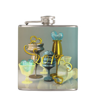 2017 New Year Gold Turquoise Stylish Party Glasses Flasks