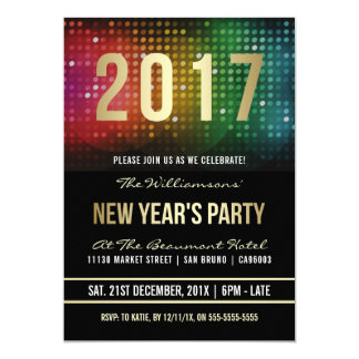 2017 New Year Party | Retro Disco Celebration 13 Cm X 18 Cm Invitation Card