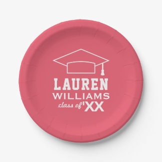 2017 Personalized Graduation Plates | Pink 7 Inch Paper Plate