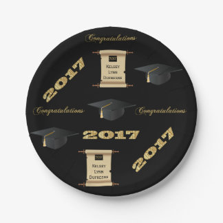 2017 Personalized Scroll Graduation Paper Plate