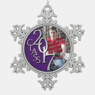 2017 Purple and Silver Graduate Photo Snowflake Pewter Christmas Ornament