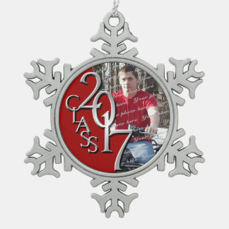 2017 Red and Silver Graduate Photo Pewter Snowflake Decoration