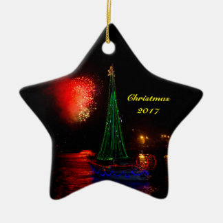 2017 Sailboat and Fireworks Ceramic Christmas Star Christmas Ornament