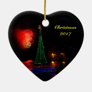 2017 Sailboat and Fireworks Ceramic Heart Ornament