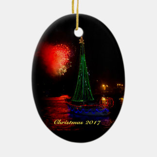 2017 Sailboat and Fireworks Ceramic Oval Decoration