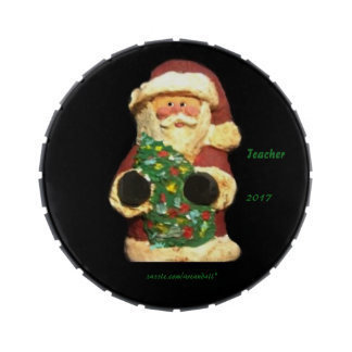 2017 SANTA WITH TREE TEACHER JELLY BELLY CANDY TIN