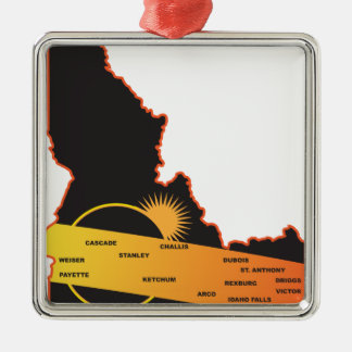 2017 Solar Eclipse Across Idaho Cities Map Christmas Ornament