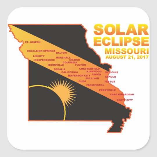 2017 Solar Eclipse Across Missouri Cities Map Square Sticker