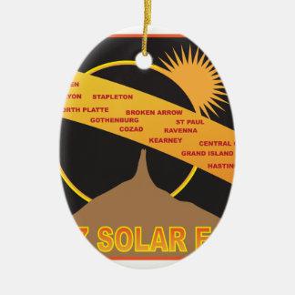 2017 Solar Eclipse Across Nebraska Cities Map Christmas Ornament