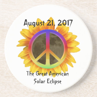 2017 Solar Eclipse, Sunflower and Peace Symbol Beverage Coasters