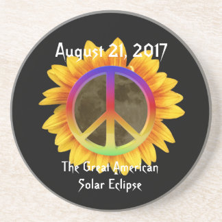 2017 Solar Eclipse, Sunflower and Peace Symbol Sandstone Coaster