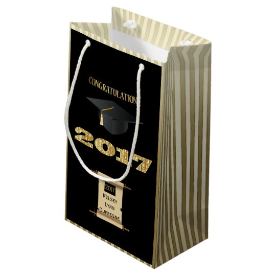 2017 w/Personalised Scroll Graduation Small Gift Bag