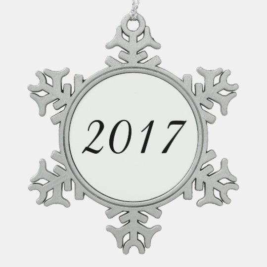 2017 Year Custom Customisable White Snowflake Pewter Christmas