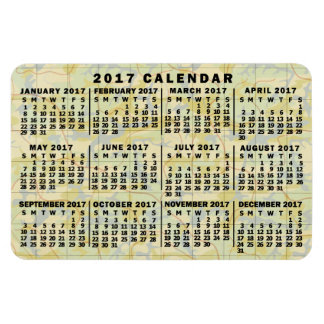 2017 Year Monthly Calendar Antique Map Look Rectangular Photo Magnet