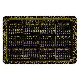2017 Year Monthly Calendar Art Deco Gold Black Rectangular Photo Magnet