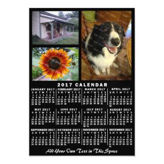 2017 Year Monthly Calendar Black Custom 3 Photos Magnetic Invitations