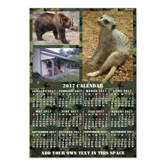 2017 Year Monthly Calendar Camouflage 3 Photos Magnetic Invitations
