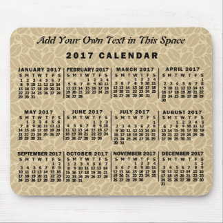 2017 Year Monthly Calendar Coffee Beans Custom Mouse Mat
