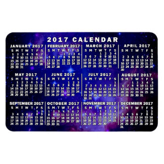 2017 Year Monthly Calendar Outer Space Nebula Rectangular Photo Magnet