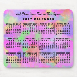 2017 Year Monthly Calendar Rainbow of Paint Custom Mouse Pad
