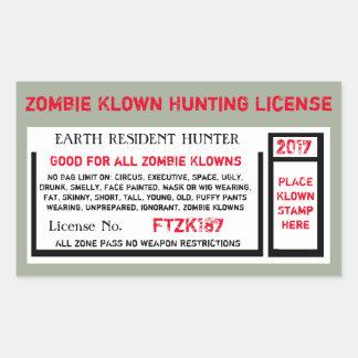 2017 Zombie Klown Hunting License Rectangular Sticker